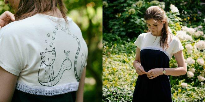 Letné šaty s rafinovaným otvoreným chrbtom. Voľný strih je stiahnutý a  nariasený v páse gumou. Spredu sú jednofarebné tmavomodré s vykúkajúcim po  bokoch ... b91bf7f8ea3