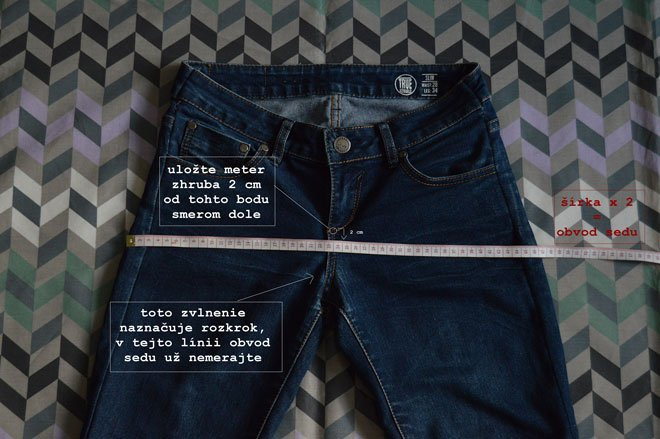 zmeranie obvodu bokov na nohaviciach