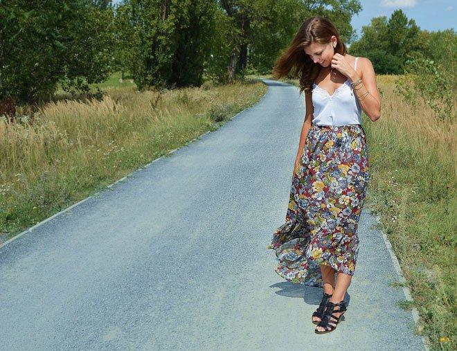 kvetovaná letná farebná dlhá sukňa