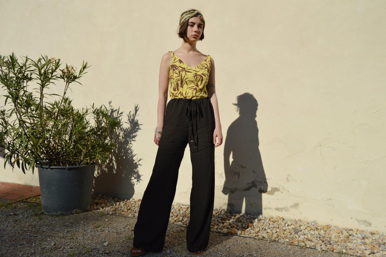 Ľahké letné zvonové slow fashion nohavice