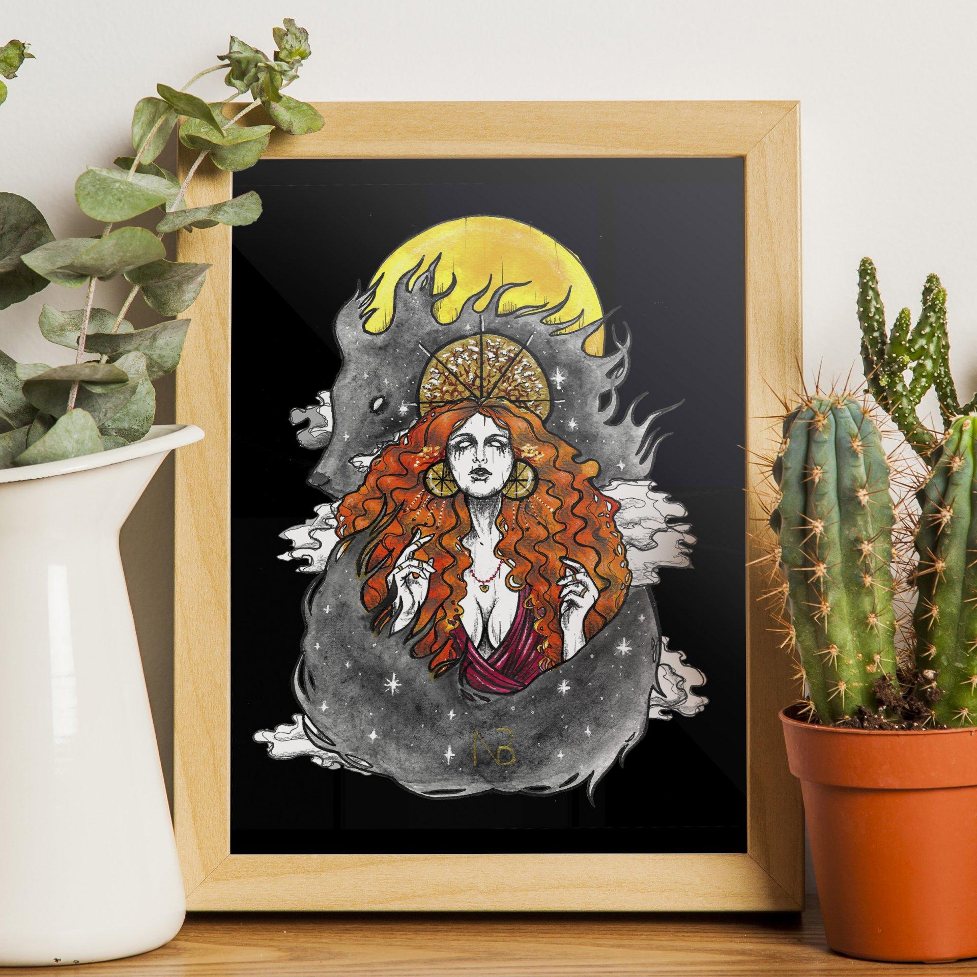 kresba bohyňa čarodejnica vlk