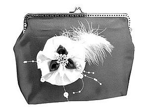 Kabelky - Čipková dámská kabelka čierno bielá 128 - 6911131_