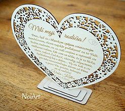 Darčeky pre svadobčanov - Srdiečko Poďakovanie rodičom 16 - 6912629_