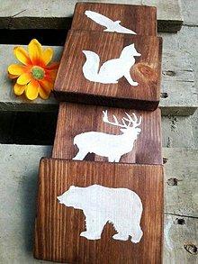 Tabuľky - Sada obrázkov - lesné zvieratká - maľované ručne - 6911136_
