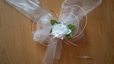 Pierka - Svadobná výzdoba na auto biela - 6910379_