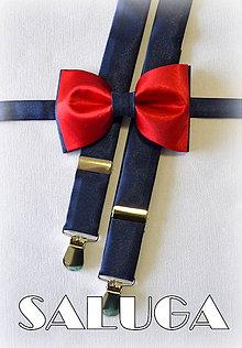 Doplnky - Pánsky set motýlik + traky tmavo modrý s červeným - 6910926_