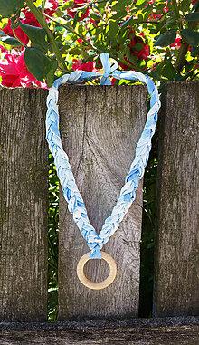"""Náhrdelníky - Látkovo-drevený dojčenský náhrdelník """"Modrá obloha"""""""" - 6912302_"""