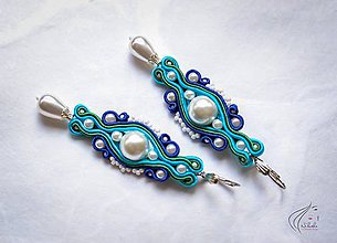 Náušnice - Farebné perlové náušnice - 6911257_