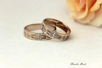 Prstene - Zlaté obrúčky s folklórnym ornamentom - Bratislava - 6910445_
