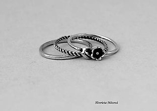 Prstene - strieborné prstene - set s kvietkom - 6910463_