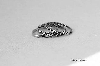 Prstene - sada strieborných prsteňov - Prepletené cesty - 6910468_