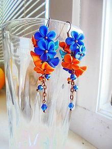Náušnice - Modrokveté - 6915068_
