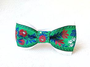 Ozdoby do vlasov - Slovak folklore hair bow (green/white) - 6915345_