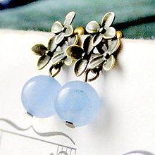 Náušnice - Blue jade & Flowers / Vintage náušnice s výberovým modrým jadeitom - 6914313_