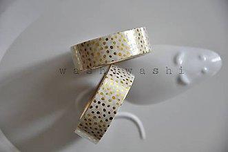 Papier - washi paska zlate bodky na bielej - 6913517_