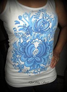Topy - Modrá maľovaná výšivka - 6915813_
