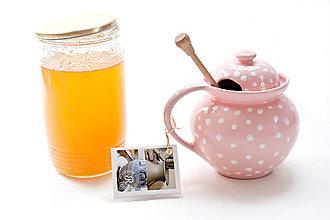 Nádoby - Keramický ružový bodkatý medník - 6917238_