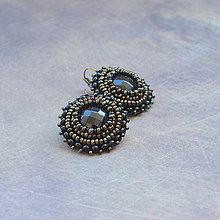 Náušnice - Black earrings  - vyšívané náušnice - 6916243_