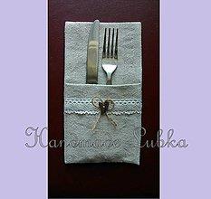 Úžitkový textil - Vintage príborníky/púzdra na príbor na svadbu - 6918635_