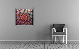 Obrazy - Motýľ - štrukturovaný mix media obraz - 6917436_