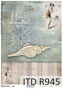 Papier - ryžový papier morský motív - 6916907_