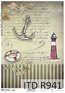 Papier - ryžový papier morský motív - 6917934_