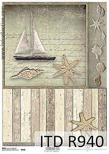 Papier - ryžový papier morský motív - 6917935_