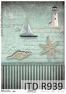Papier - ryžový papier morský motív - 6917939_