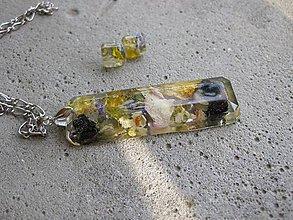 Sady šperkov - Drahokam živicový s kvietkami - sada č.516 - 6918115_