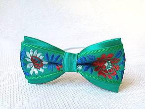 Ozdoby do vlasov - Slovak folklore hair bow (green) - 6920776_
