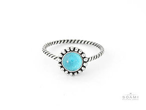 Prstene - 925 Strieborný prsteň s prírodným modrým topásom - 6919816_