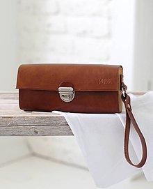 Kabelky - Listová kabelka na zápästie MINI CLUTCH BROWN - 6919675_