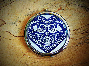 Zrkadielka - Zrkadielko s folklórnymi modrými vtáčikmi - 6920037_