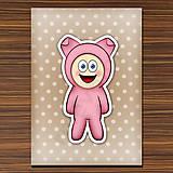 Papiernictvo - Zápisník zvierací kostým (bodkovaný) - prasiatko - 6919672_