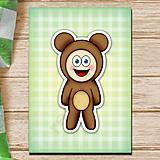 Papiernictvo - Zápisník zvierací kostým (károvaný) - macko - 6920479_