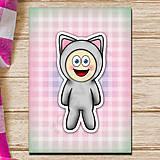 Papiernictvo - Zápisník zvierací kostým (károvaný) - mačka - 6920970_