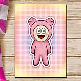 Papiernictvo - Zápisník zvierací kostým (károvaný) - prasiatko - 6921303_