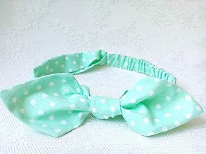 Ozdoby do vlasov - Pin Up headband on elastic (mint/white polka dots) - 6922180_