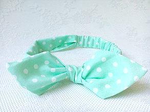 Ozdoby do vlasov - Pin Up headband on elastic for kids (mint/white polka dots) - 6922186_