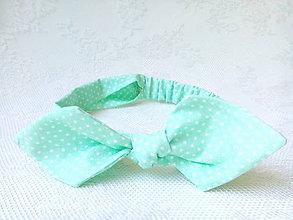 Ozdoby do vlasov - Pin Up headband on elastic for kids (mint/mini white polka dots) - 6922187_