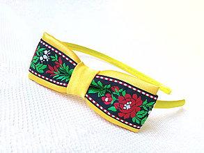 Ozdoby do vlasov - Sweet folklore headband (yellow/black) - 6922446_
