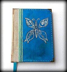 Papiernictvo - Ručne šitý kreslený diár/denník/notes/zápisník Vintage motýľ (A5) - 6922972_