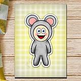 Papiernictvo - Zápisník zvierací kostým (károvaný) - myš  - 6921415_