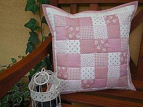 Úžitkový textil - Prehoz, vankúš patchwork vzor maslovo - ružová ( rôzne varianty veľkostí ) - 6925263_