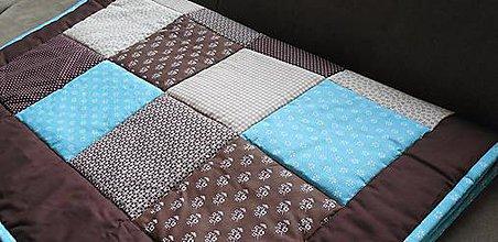 Úžitkový textil - patchwork deka rozmer 220 x 220 cm čokoládovo - tyrkysová - 6925562_
