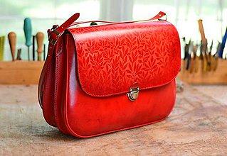 Na notebook - Kožená brašňa na notebook červená