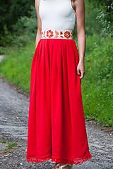 Sukne - Červená folk sukňa - 6924835_