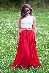 Sukne - Červená folk sukňa - 6924836_