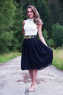 Sukne - Čierna folk sukňa - 6924781_