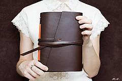 - Ručne viazaný kožený zápisník Berta / čisté strany - 6925786_